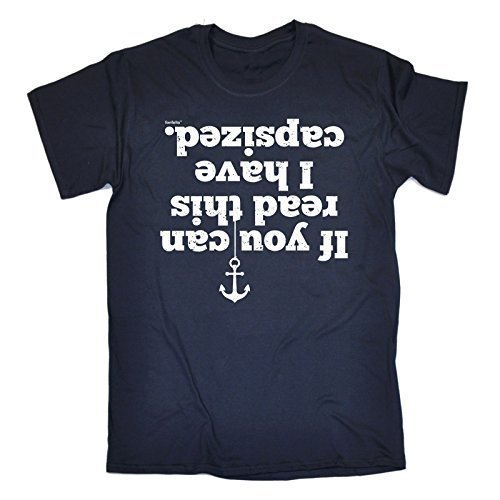 '123T Mugs Herren If You Can Read This I Have Capsized - Loose Fit T-Shirt (Distressed Stil Print), Blau - Navy, L (Blau Brust Distressed)