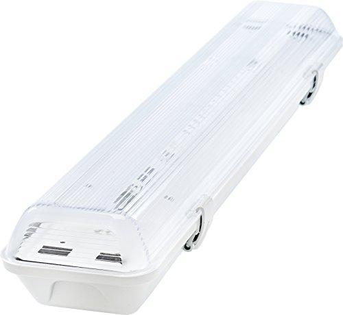 feuchtraumwannenleuchte G13 LED Feuchtraumleuchte 2x T8 LED, 20W 1600LM 60cm, IP65 LED Feuchtraumwanneneuchte, LED Wannenleuchte Leuchtstofflampe, Neutralweiss 4000K CRI80 (NEUTRALWEISS)
