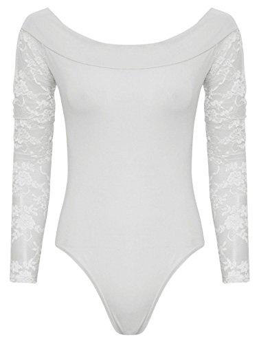 Chocolate Pickle ® Mesdames Floral Lace Off épaule Bodysuit 36-42 Crème
