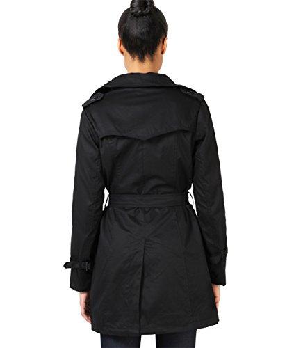 KRISP® Damen Klassischer Trench Coat Mantel Jacke Schwarz (4397)