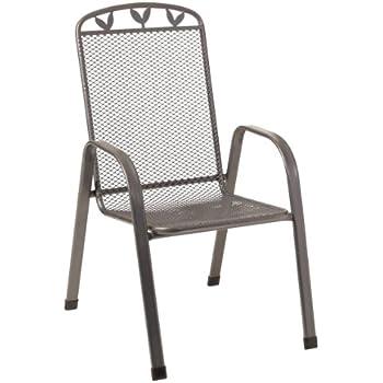 Greemotion Stapelsessel Toulouse Eisengrau, Stuhl Aus Kunststoffummanteltem  Stahl, Gartenstuhl Mit Feinem Blattdekor, Witterungsbeständig Und  Pflegeleicht