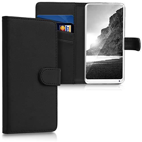kwmobile Funda para Xiaomi Mi Mix 2S - Carcasa de Cuero sintético - Case con Tapa y Tarjetero en Negro