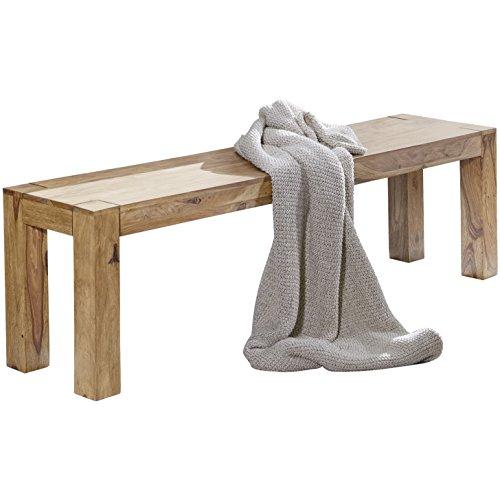 WOHNLING Esszimmer Sitzbank Massiv-Holz Akazie 120 x 45 x 35 cm Design Holz-Bank Natur-Produkt Küchenbank Landhaus-Stil dunkel-braun Bank 3-Sitzer für innen ohne Rücken-Lehne Echt-Holz unbehandelt