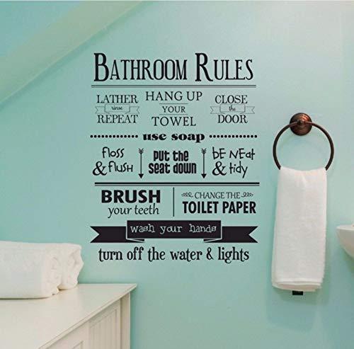 Xzfddn Badezimmer Regeln Wandaufkleber Removable Home Wandtattoo Vinyl Badezimmer Regeln Zitat Tapete Wohnkultur Waschen Hände Aufkleber