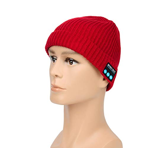 Eulan Winter Fashional Bluetooth Beanie Hat Cap Double Knit with Wireless Headphones Headsets Earphone Removal Speakers Microphone Hands Free(Cola red) - Red Hands Free-headset