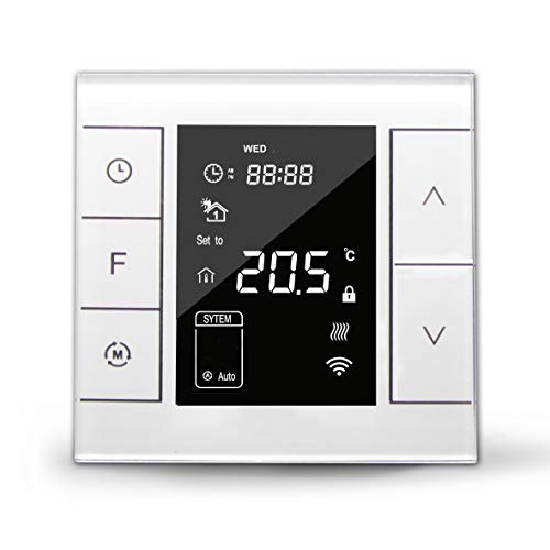 UnderFloor Heating Thermostat LCD Touch Screen Programmable, Z-Wave-Enabled  Device (for Water Heating System, White)