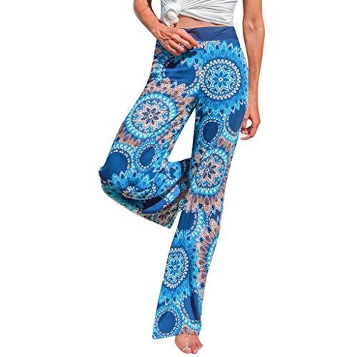 MOTOCODamen Blumendruck Gerichtshose Damen Bell Hose Weite Hose Elastische Größe 36-42(S(36),Blau)
