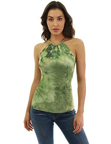 PattyBoutik Damen Neckholder Tie Dye Bluse (grün und hellgrün 51 M 40)
