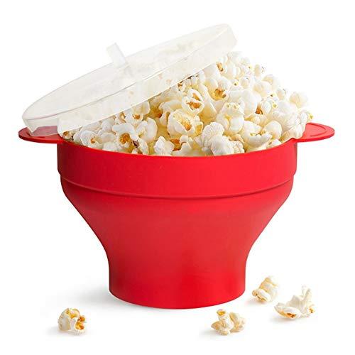 Popcorn Maker Silikon für Mikrowelle, zusammenfaltbarer Popcorn Popper, Zubereitung ohne Öl, BPA-freimit Deckel und praktischen Griffen, Rot - Popcorn, Schüssel