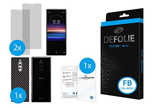 Crocfol Fullbody Carbon frustfreier Bildschirmschutz für Sony Xperia 1: 2X DIEFOLIE Schutzfolie für die Vorderseite [FULLCOVER] & 1x Art Carbon für die Rückseite [Backcover], inkl. 1x DASFLÜSSIGGLAS