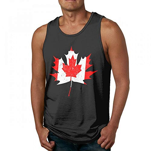 Retro Canada Flag Canadian Maple Leaf Mens Quick-Dry Loose-Fit Crew Tank Tops Shirt