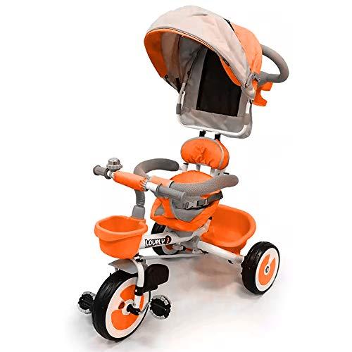 BAKAJI Triciclo Passeggino per Bambini a Pedali e Spinta con Sediolino Girevole a 360 Gradi Imbottito Cinture di Sicurezza Manico Direzionabile e Tettuccio Cappottina Parasole (Arancione)