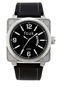 French Connection Men's Quartz Watch with Black Dial Analogue Display and Black Leather Strap FC1066SBW