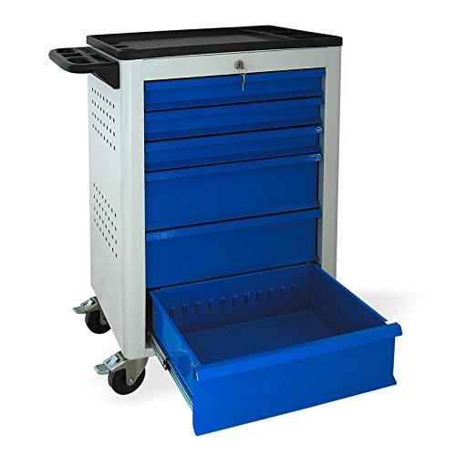 Werkstattwagen mit Rollen, BASIC-Serie, 6 Schubladen 3x80 mm 3x160 mm grau/blau (RAL 7035/5015), abschließbar, Rollwagen/Werkzeugwagen mit Rollen - 3