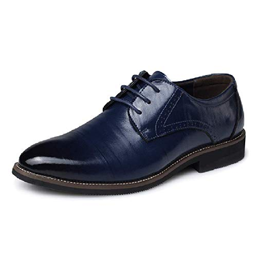 Formale Schuhe 4 (Herren Derby-Schuhe Spitzen Zehe-Leder-Spitze-ups Formale Kleid Business Büro Schuhe, 4 Farben,Blue-38)