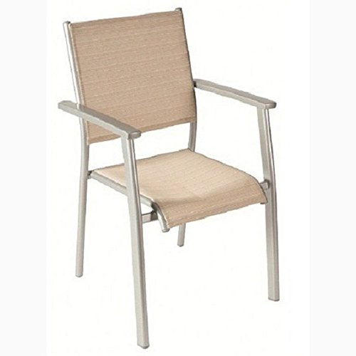 JUSThome ACATOP Petite Chaise Bistro en Acier Chaise de jardin pliante Platine/Sable