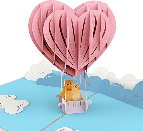Hochzeitskarte, Bärchen in Heißluftballon mit Herzen, XXL 3D-Pop-Up-Karte, Glückwunsch-Karte zur Verlobung, Pärchen, Liebe, Teddy-Bär, Geburtstagskarte, Geld-Geschenk, Geschenk-Karte mit Umschlag