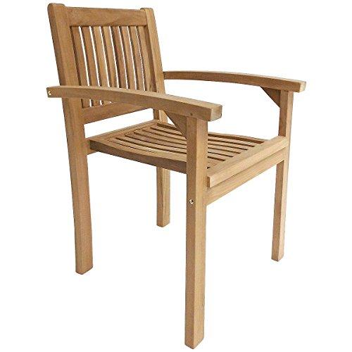Charles Bentley Pair Of Solid Wooden Teak Stacking Armchairs Outdoor Garden Patio Furniture