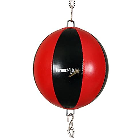 TurnerMAX Quality rexion Double End Ball Punching Ball D Ball with Elasticated Straps, Red / Black