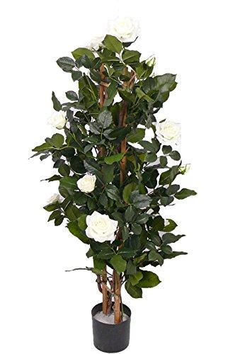 artplants Künstlicher Rosenbaum Juliana, 15 Blüten, Creme, 100 cm – Kunstpflanzen/Künstliche Rosen