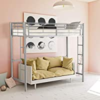 CASART 3FT High Bed with Twin Ladders and Safety Guardrail, High Sleeper & Household Space Saver, Metal Bunk Bed Loft Frame for Boys Girls Teens Kids Bedroom Dorm (Silver)