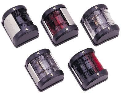 Saarwebstore LED-Positionslaterne, 12V, LED 0,54W, weiß oder schwarzes Gehäuse Positionslicht für alle Bootsrichtungen Navigationslaternen Farbe Weiß, Größe Licht grün/rot 2X 112,5° -