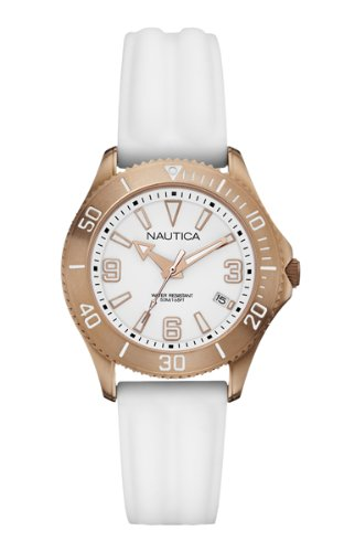 Nautica NAC 102 Women's Quartz Watch with White Dial Analogue Display and White Silicone Strap A14648M