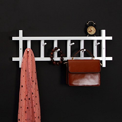 YXX- Portemanteaux Porte-manteaux en bois massif Simple TV murale Crochet Petits articles Rangement Rack Chambre Salon Hall Bureau Chapeau Écharpe Parapluie Paquet Cintres ( Couleur : Blanc , taille : 6-Hooks(62*24cm) )