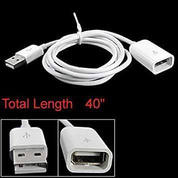 SODIAL (R) USB A Stecker auf A Weiblich M/ F-Verlaengerungskabel Weiss 40