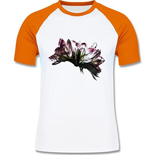 Blumen & Pflanzen - Orchidee Timelapse - zweifarbiges Baseballshirt für Männer Weiß/Orange