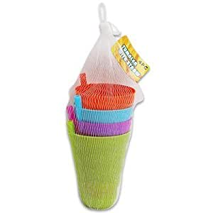 SET of 4 Sip-a-cup Kids Tumblers with Built in Straw, 5.5 Inch Tall, Pink, Orange, Green & Blue (10 oz)