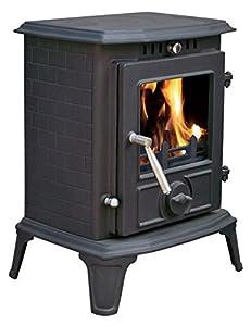 """Lincsfire Modern Hatton JA060 5.5KW Type C MultiFuel WoodBurning Stove Clean Burn WoodBurner Cast Iron Log Burner Woodburning Fireplace + One Free 5"""" Flue Pipe"""