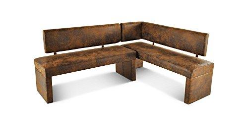 SAM Eckbank Ohara in brauner Wildleder-Optik, Rechte Seite 180 cm, Linke Seite 130 cm, Sitzbank mit Rückenlehne aus Samolux®-Bezug, angenehmer Sitzkomfort