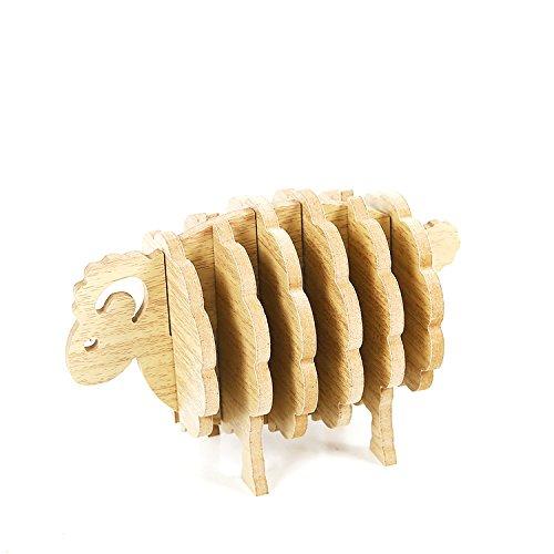 Florateck Blumentopf 6PCS Holz Untersetzer Set mit Halter Untersetzer für Getränke 3D Schaf geformte Tasse Tasse Matte Home Decor House