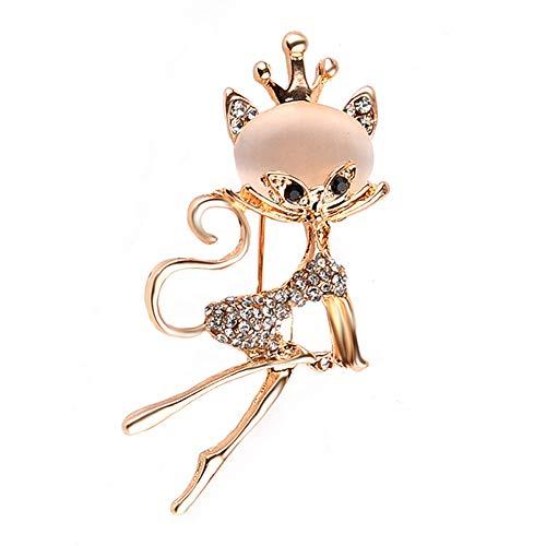 Gysad Brosche Damen Form Frau Katze billige Modeschmuck Dekoration Strass Strass Broschen für Damen Geeignet für Kleidung, Hüte, Schals, Taschen Brosche Tier 2.6 * 5.5cm gold