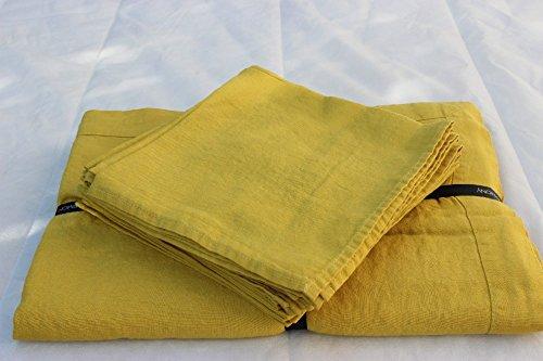 Harmony - Nappe en lin lavé carrée unie Nais - 100% lin stone wash - jaune Curry - 170x170 cm