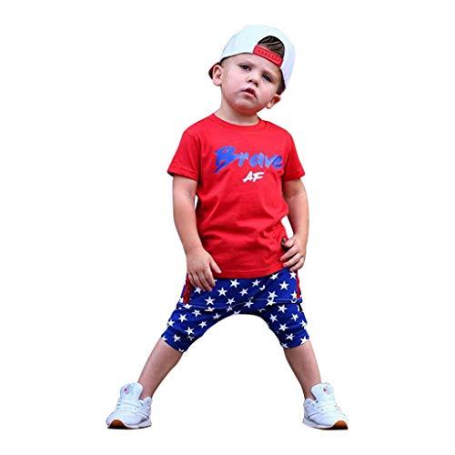 Julhold Kids Baby Boy Freizeitmode Juli Vierter Brief Drucken T-Shirt Top Star Shorts Independence Day Set Sommer 2019Neu