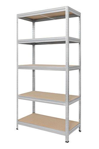 Hans Schourup 13501065 Lagerregal mit 5 böden aus MDF, Traglast von bis zu 275 kg pro Boden, 180 cm x 90 cm x 35 cm, Verzinkt
