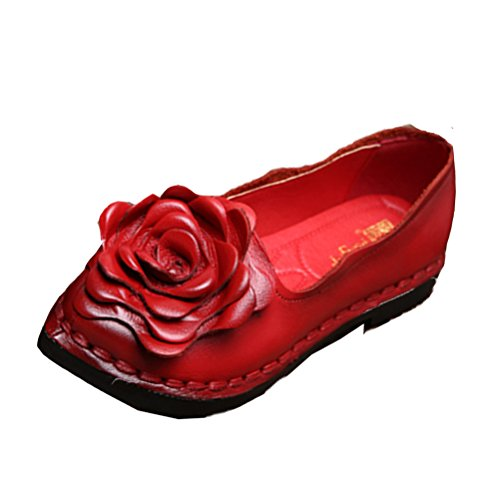 Vogstyle Damen Frühjahr/Sommer Weinlese Blumen Handgemachte Lederschuhe Flats Art 5 Rot EU37-37.5/CH38 (Espadrilles Handgemachte)