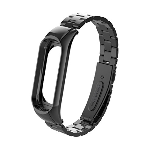 Preisvergleich Produktbild YUYOUG_watch strap yuyoug für Xiaomi Mi 3 Band Fashion Edelstahl Luxus Handgelenk Trageriemen Metall Armband Verstellbar Ersatz Sport Armband,  Schwarz