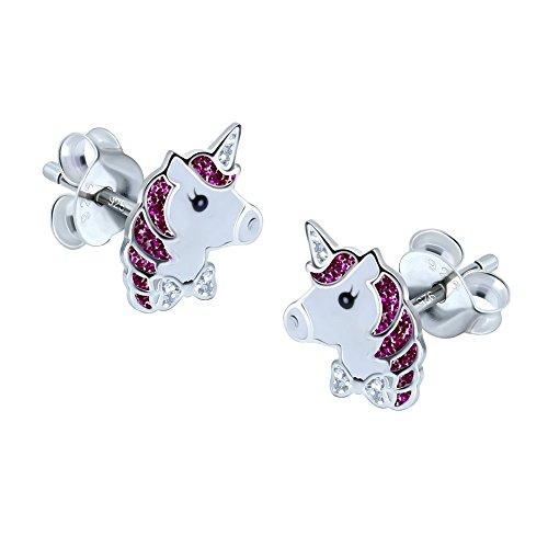 Orecchini in argento sterling, a forma di unicorno, colore viola con glitter