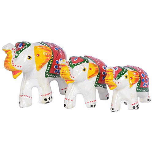 Jaipuri Haat Handicrafted Set Of 3 Showpiece Elephant For Decoration (9X7Cm ,7X 5Cm ,6X 4Cm)