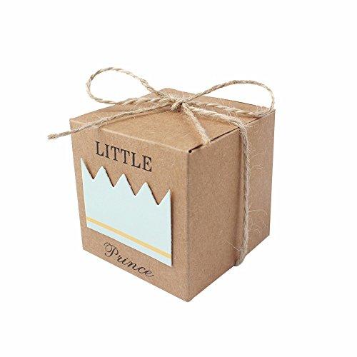 50Little Princess Baby Dusche Favor Boxen + 50Bindfäden Bow, rustic Kraft Papier Candy, Tasche Geschenk-Box für Baby-Dusche Party Supplies Cute 1. Geburtstag Mädchen Dekoration, Pink blau