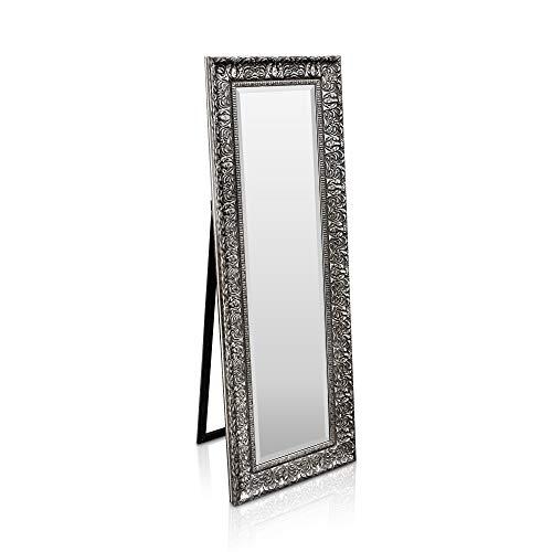 Shabby Chic Wandspiegel - 130 x 45 cm - Großer französischer Standspiegel im Vintage Stil - Kohlefarben und Silber