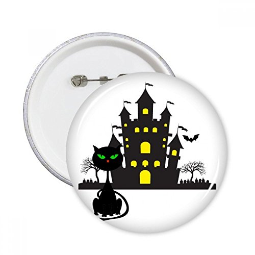 (DIYthinker Halloween Horrible Gloomy Schloss Katze Runde Stifte Abzeichen-Knopf Kleidung Dekoration Geschenk 5pcs Mehrfarbig XXL)