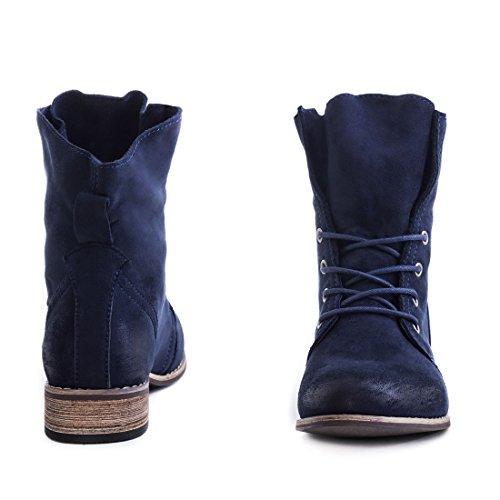 Stylische Ankle Worker Boots Schnür Stiefeletten Stiefel in hochwertiger Lederoptik Blau Wildlederoptik