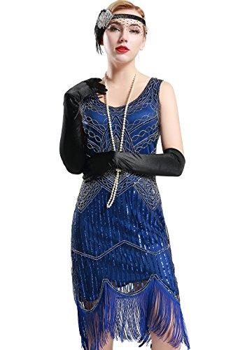 Stil Damen Kleid Karneval Flapper Kleid V Ausschnitt Troddel Gatsby Mottoparty Damen Kostüm Kleid (Blau, Etikette M/ UK12-14/ EU40-42) ()