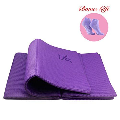 Tappetino per yoga/esercizi, antiscivolo, da viaggio, pieghevole, portatile, privo di ftalati e lattice (60x 174cm), purple (4mm)