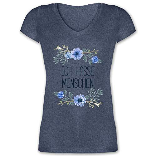 Statement Shirts - Ich Hasse Menschen Blumen - XXL - Dunkelblau meliert - XO1525 - Damen T-Shirt mit V-Ausschnitt -