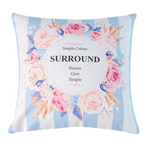 Baumwoll-wohnzimmer-stuhl (WXFO Persönlichkeitskissen Kissen Blume Baumwolle Kissen Kissen Kissen Wohnzimmer Sofa Stuhl Kissen Bett zurück Kissen Kissen (Color : D))